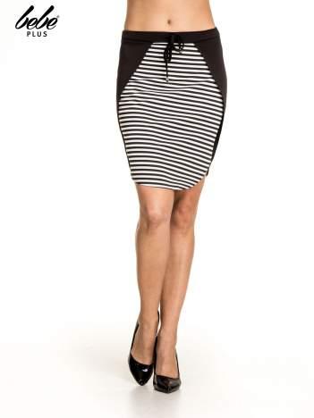 Biało-czarna dwuczęściowa spódnica w paski