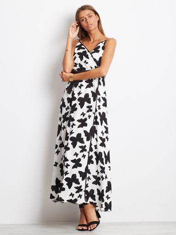 Biało-czarna sukienka Butterflies