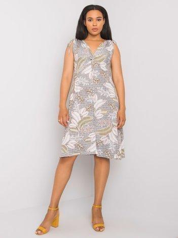 Biało-czarna sukienka plus size z wiskozy Kandi