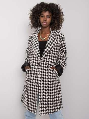 Biało-czarny płaszcz w pepitkę Amirah RUE PARIS