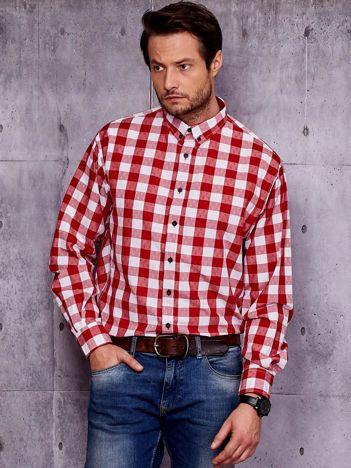 Biało-czerwona koszula męska w kratę