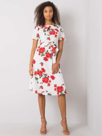 Biało-czerwona sukienka w kwiaty Merla