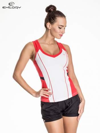 Biało-czerwony damski top sportowy z nadrukiem na plecach