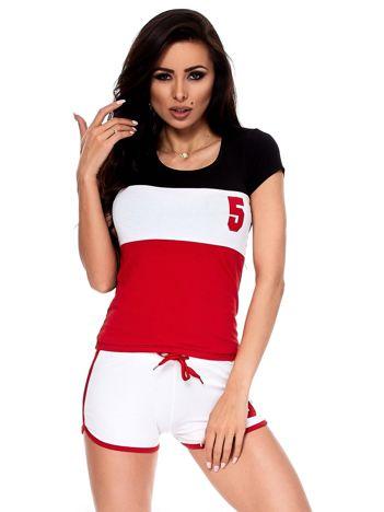 Biało-czerwony komplet t-shirt i szorty