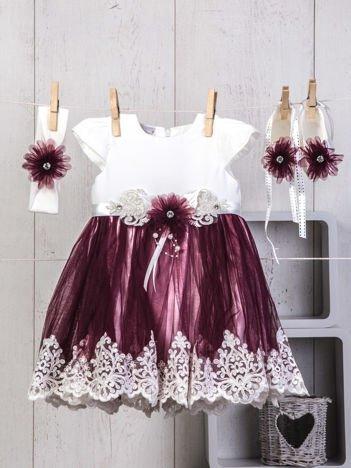 Biało-fioletowy 3-elementowy niemowlęcy zestaw dla dziewczynki na święta, chrzest, wesele z sukienką tiulową