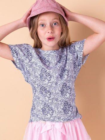 Biało-granatowa bluzka dla dziewczynki