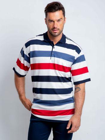 Biało-granatowa koszulka polo męska plus size Maverick