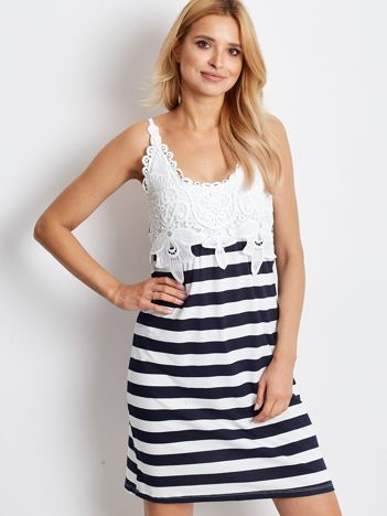 Biało-granatowa sukienka Springbreak