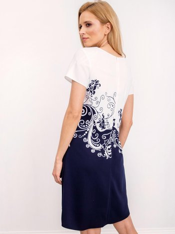 Biało-granatowa sukienka Whitney