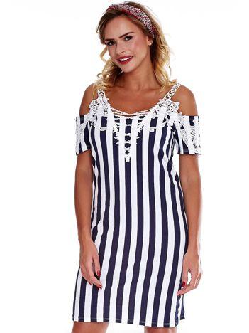 Biało-granatowa sukienka cold arms w paski