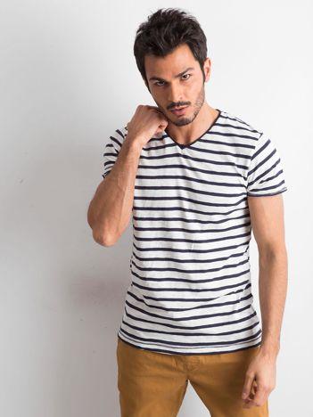 Biało-granatowy t-shirt męski w paski