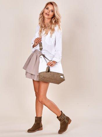 Biało-khaki torba miejska z eko skóry