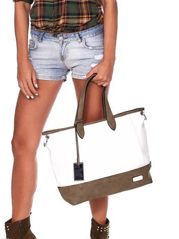 Biało-khaki torba shopper z eko skóry z odpinanym paskiem