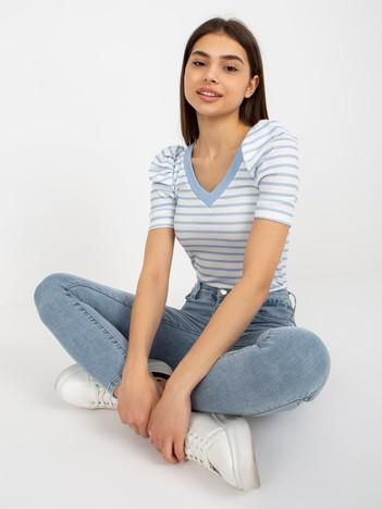 Biało-niebieska bluzka w paski Marlo