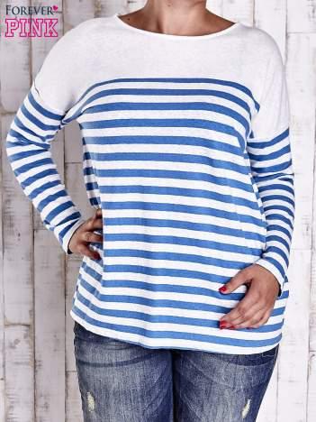 Biało-niebieska bluzka w paski PLUS SIZE