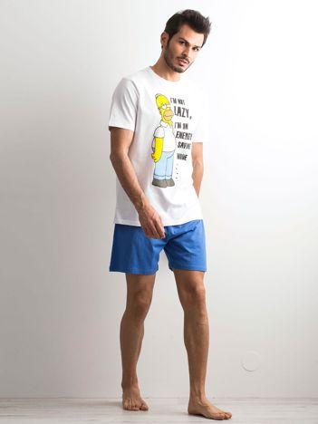 Biało-niebieska piżama męska Simpsonowie