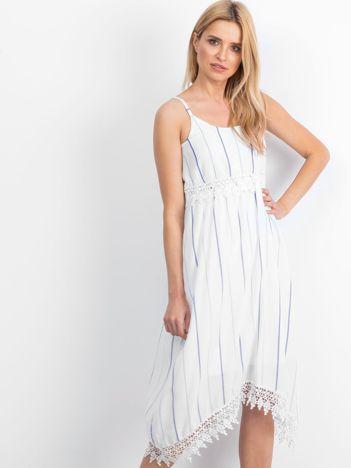 Biało-niebieska sukienka Sundance