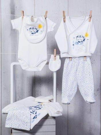 Biało-niebieski 10-elementowy 100% bawełniany zestaw startowy wyprawka dla noworodka z pastelowym nadrukiem