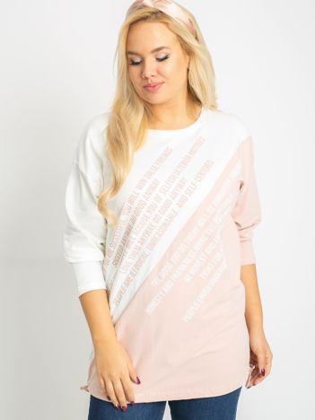 Biało-różowa bluzka plus size Secretly