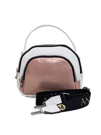 Biało-różowa torebka ze skóry ekologicznej