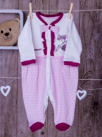 Biało-różowe  bawełniane śpiochy dla dziewczynki z kokardką