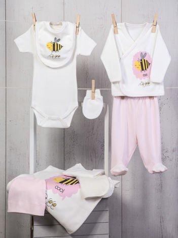 Biało-różowy dziewczęcy 10-elemenentowy 100% bawełniany zestaw startowy dla noworodka z pszczółką