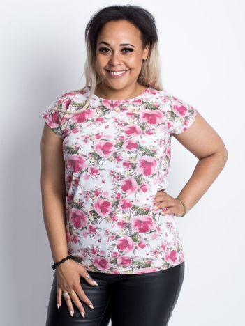 Biało-różowy t-shirt PLUS SIZE