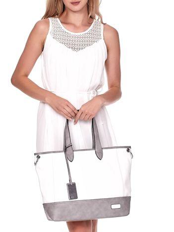 Biało-szara torba shopper z eko skóry z odpinanym paskiem