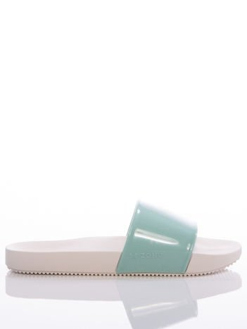 Biało-zielone klapki Zaxy, z profilowaną podeszwą