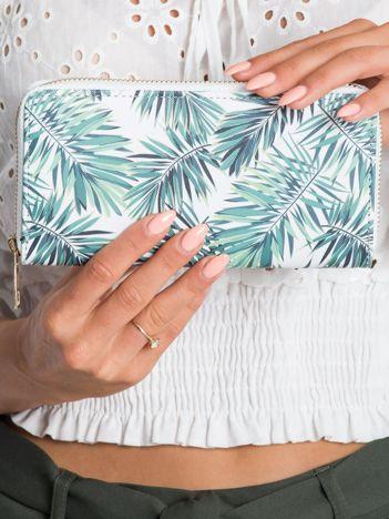 Biało-zielony portfel w liście