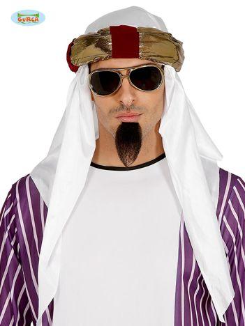 Biało-złoty arabski turban szejka na imprezy