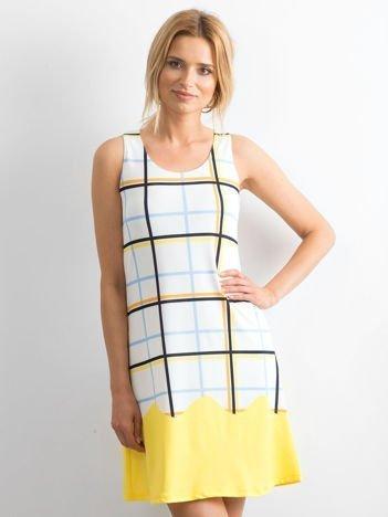 Biało-żółta sukienka w kolorową kratę