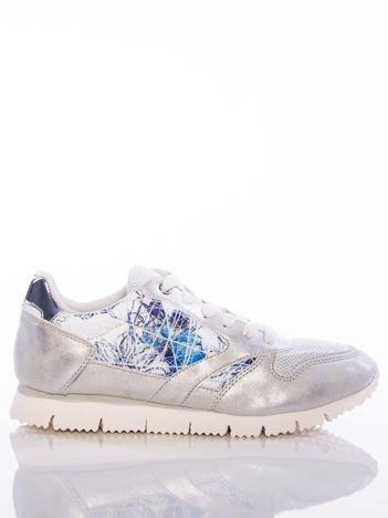Białoperłowe buty sportowe Vinceza z kwiatowym motywem na boku cholewki