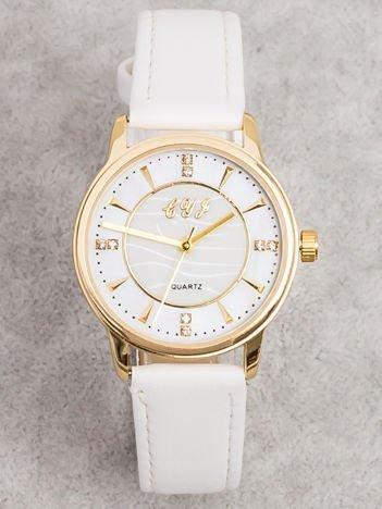 Biały Mały Zegarek Z Perłową Tarczą i Cyrkoniami