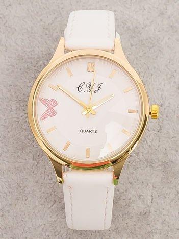 Biały Zegarek Damski z Motylem