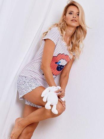 Biały bawełniany komplet piżama w paski z nadrukiem owiec