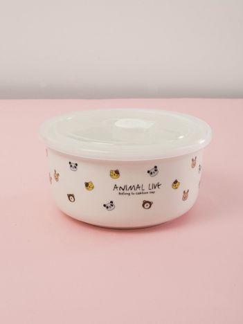 Biały ceramiczny pojemnik do żywności z pokrywką