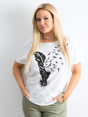 Biały damski t-shirt z nadrukiem PLUS SIZE