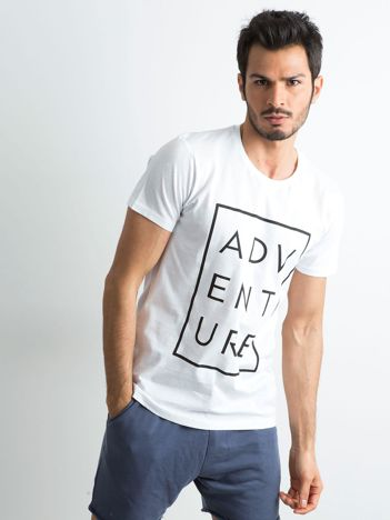 Biały męski t-shirt z napisem