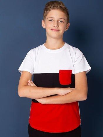 Biały modułowy t-shirt dziecięcy z suwakami