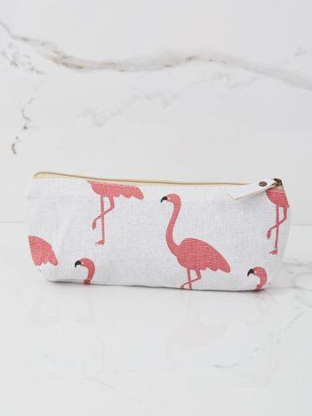 Biały piórnik z nadrukiem flamingów