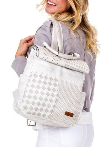 Biały plecak damski z eko skóry z plecionką i ażurowaniem