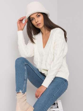 Biały rozpinany sweter w warkocze Danville RUE PARIS