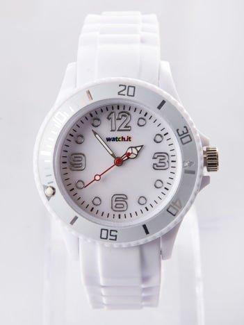 Biały silikonowy zegarek damski