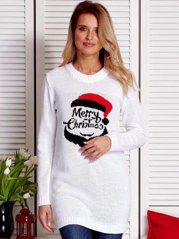 Biały sweter świąteczny z Mikołajem