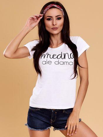 Biały t-shirt damski WREDNA ALE DAMA