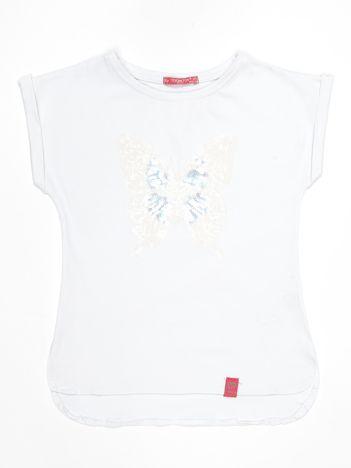 Biały t-shirt dla dziewczynki z cekinowym motylem