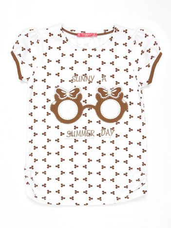 Biały t-shirt dla dziewczynki z nadrukiem i aplikacją