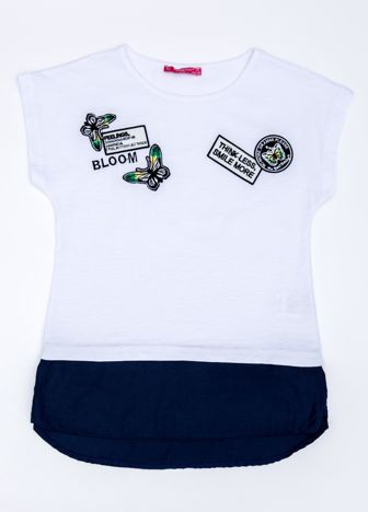 Biały t-shirt dla dziewczynki z naszywkami