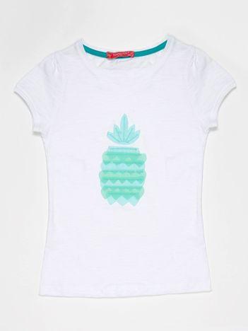 Biały t-shirt dla dziewczynki z turkusowym ananasem